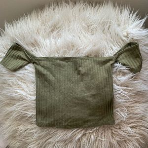 Olive green tight fit tube top w/ attached sleeves